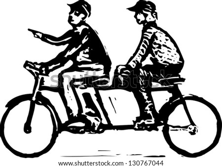 Black and white vector illustration of man and woman riding a tandem bicycle