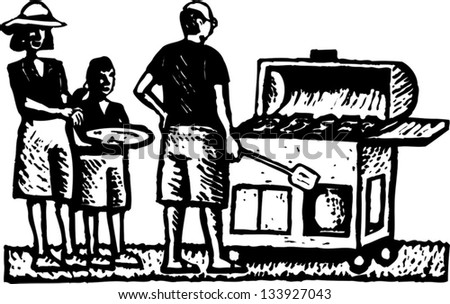 Black and white vector illustration of man grilling on barbecue