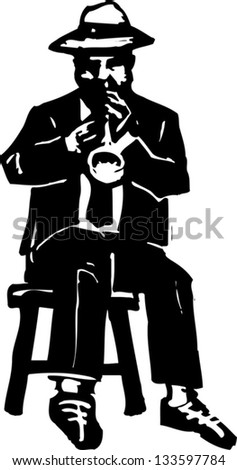 Black and white vector illustration of man playing jazz trumpet
