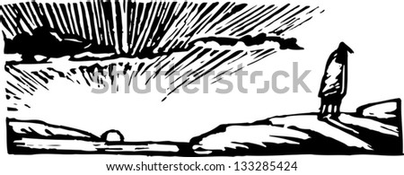 Black and white vector illustration of man watching the sunrise