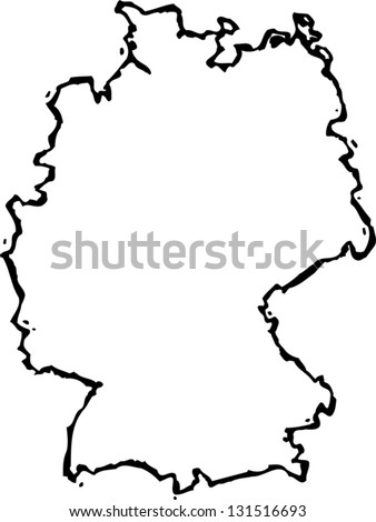 Black White Vector Illustration Map Germany Stock Vector - Germany map clipart