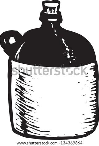Black and white vector illustration of Moonshine Liquor Jug - stock vector