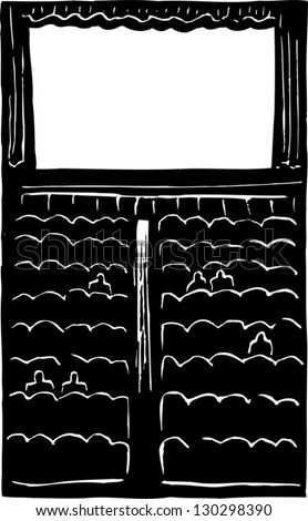 Black and white vector illustration of movie theater - stock vector