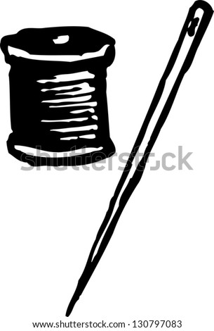 Black and white vector illustration of needle and thread