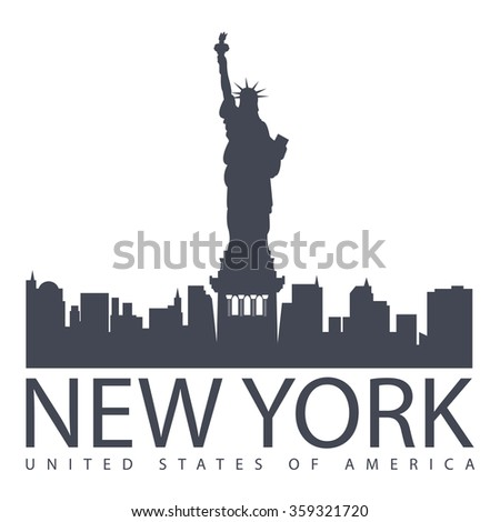 black and white vector illustration of New York with the Statue of Liberty