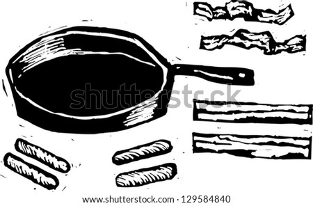 Black and white vector illustration of pan and cooking utensils - stock vector