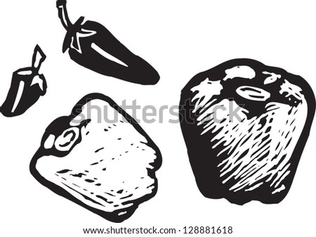 Black and white vector illustration of peppers - stock vector