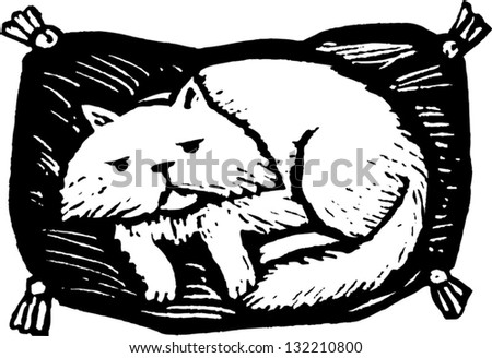 Black and white vector illustration of Persian cat lying on a fancy pet bed