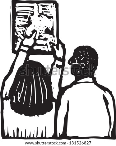 Black and white vector illustration of physician looking at X-ray document