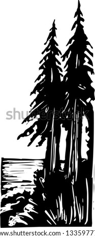 Black and white vector illustration of pine trees - stock vector