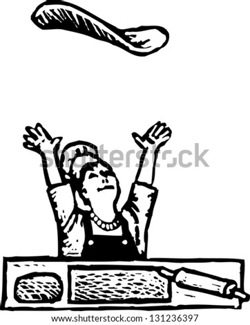 Black and white vector illustration of pizza chef