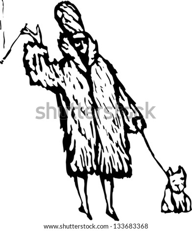 Black and white vector illustration of rich woman wearing fur coat with small dog - stock vector