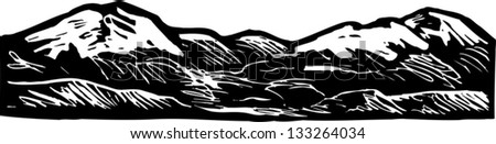 Black and white vector illustration of rocky mountains - stock vector