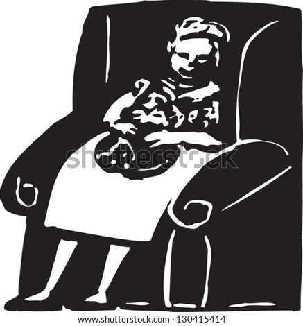 Black and white vector illustration of senior woman sitting in a chair and holding her cat