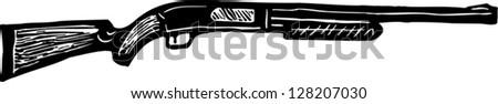 Black and white vector illustration of shotgun - stock vector