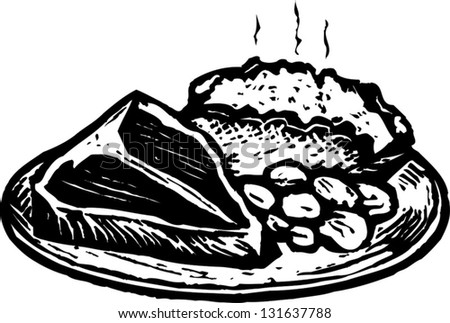 stock-vector-black-and-white-vector-illustration-of-steak-dinner-with-baked-potato-and-beans-131637788.jpg