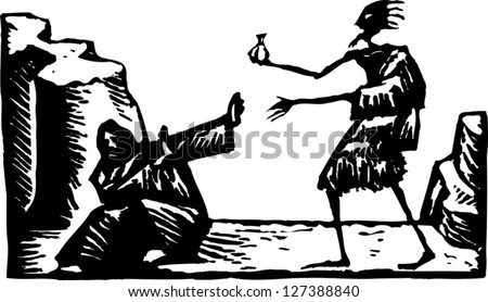 Black and white vector illustration of temptation of Christ - stock vector
