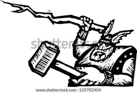 Black and white vector illustration of Thor - stock vector
