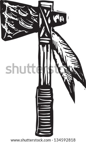 Black and white vector illustration of tomahawk - stock vector
