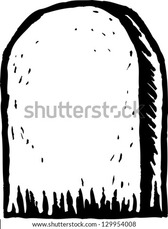 Black and white vector illustration of tombstone - stock vector