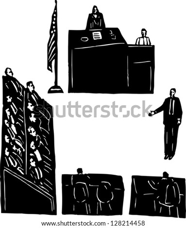 Black and white vector illustration of trial at court - stock vector