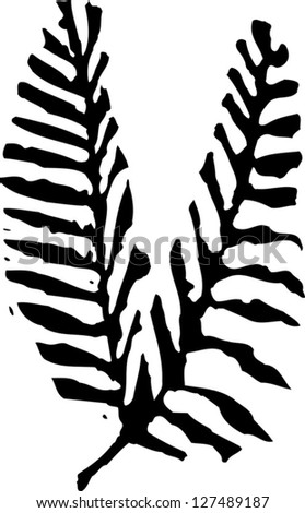 Black and white vector illustration of two branches