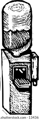 Black and white vector illustration of Water Cooler - stock vector