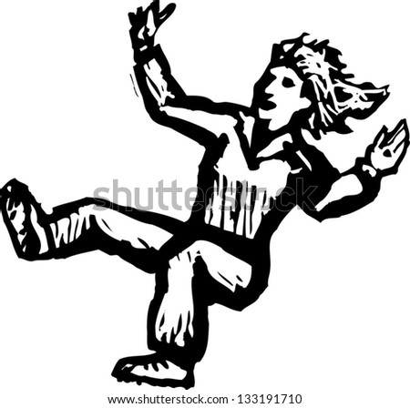 Black and white vector illustration of woman falling - stock vector