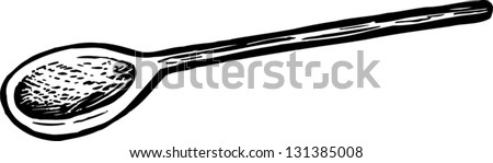 Black and white vector illustration of wooden cooking spoon - stock vector