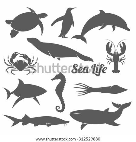 black and white vector illustration set of silhouettes of sea animals in the minimal style / Minimal sea animals vector illustration - stock vector