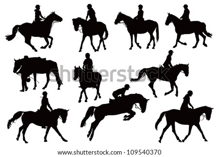 Black and white vector illustration with ten riders and their horses - stock vector