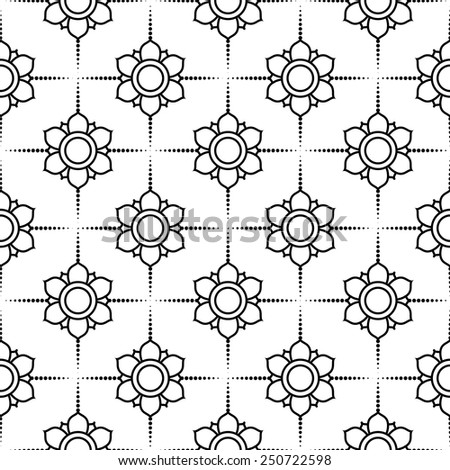 Black and white vector intricate pattern of flowers - stock vector