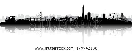 Black and White Vector of the San Francisco on with reflection - stock vector