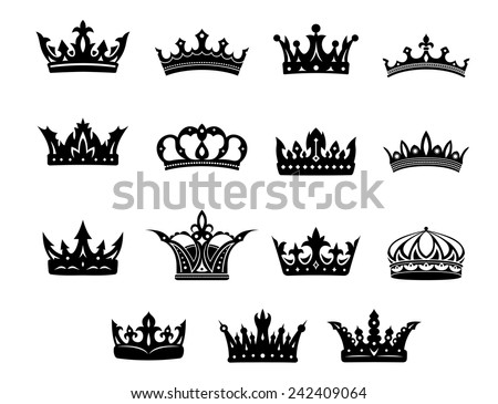 Black and white vector royal crowns set for use in heraldry and decorative design elements for classical antiquity - stock vector