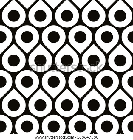 Black and white vector seamless pattern with droplets and polka dots, monochrome infinite background with drops and dots, endless abstract book cover.  - stock vector