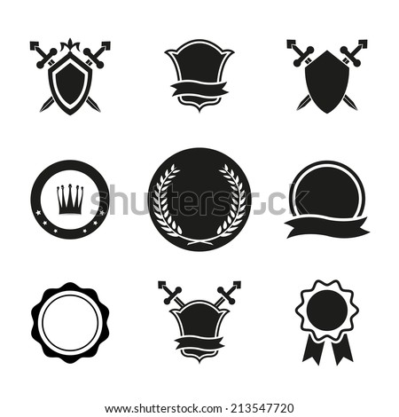 Black and White Vector Shield  Crowns and Emblems Icons. Used for Labels and Other Graphic Design. - stock vector