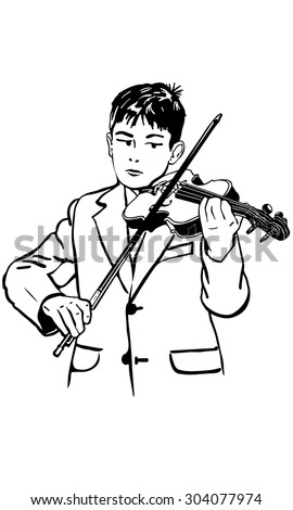 black and white vector sketch boy is practicing the violin - stock vector