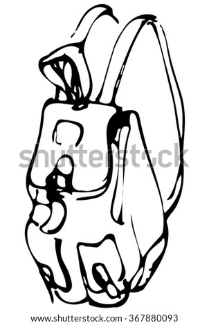black and white vector sketch of a backpack with pockets