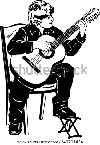 black and white vector sketch of a boy playing music on a guitar - stock vector