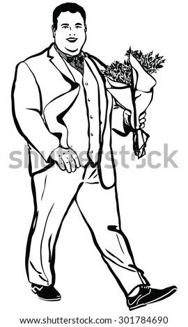 black and white vector sketch of a fat man with a bouquet of flowers - stock vector