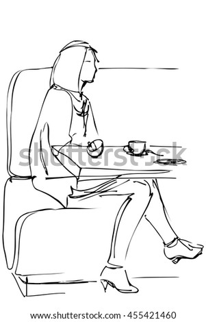 black and white vector sketch of a girl in a cafe drinking coffee on the couch - stock vector