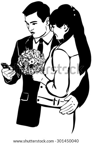 black and white vector sketch of a guy with a phone Woman with a bunch of hugs - stock vector