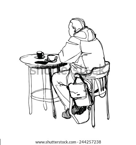 black and white vector sketch of a man at a table drinking coffee