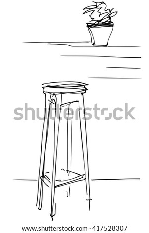 black and white vector sketch of a tall wooden stool and flower room