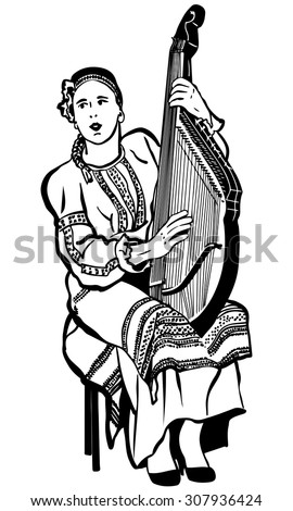 black and white vector sketch of a young girl in a national Ukrainian suit playing the bandura - stock vector