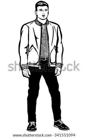 black and white vector sketch of a young man in a short jacketv