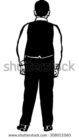 black and white vector sketch of a young man in a vest back to us - stock vector