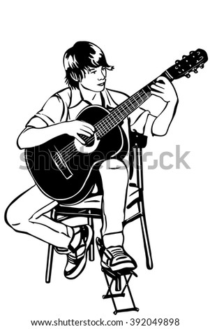 black and white vector sketch of a young man sitting on the acoustic guitar plays music - stock vector