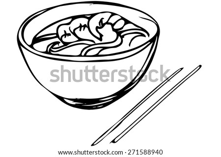 black and white vector sketch of Chinese noodles with shrimp and chopsticks - stock vector