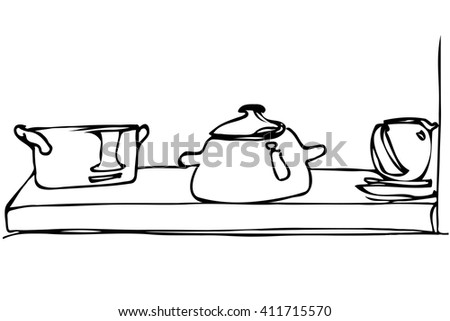 black and white vector sketch of crockery and pan stand on a shelf